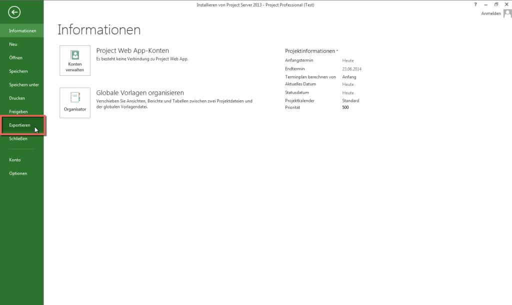 MS Project 2013 XML Export 2