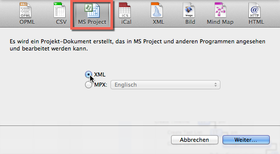 XML Export MS Project