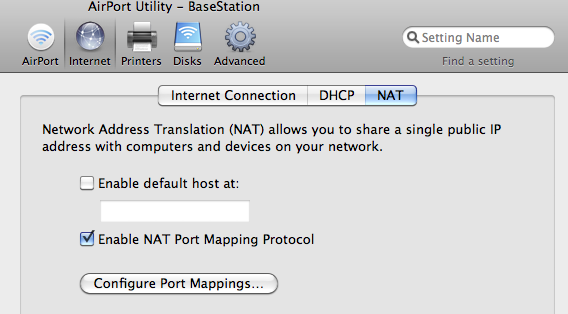 enable NAT in Airport base station